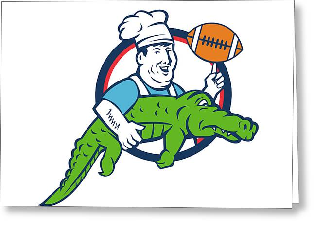 Chef Twirling Football Carry Alligator Circle Retro Greeting Card