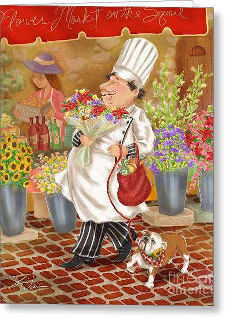 Chefs Go To Market II Greeting Card by Shari Warren
