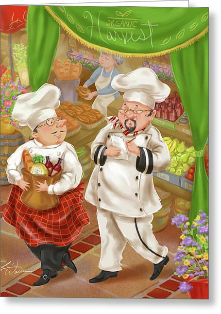 Chefs Go To Market IIi Greeting Card by Shari Warren