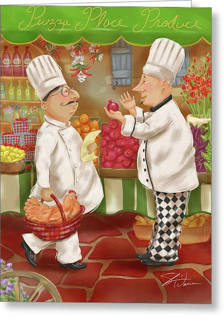 Chefs Go To Market Iv Greeting Card by Shari Warren