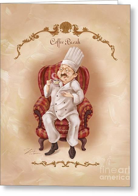 Chefs On A Break-coffee Break Greeting Card