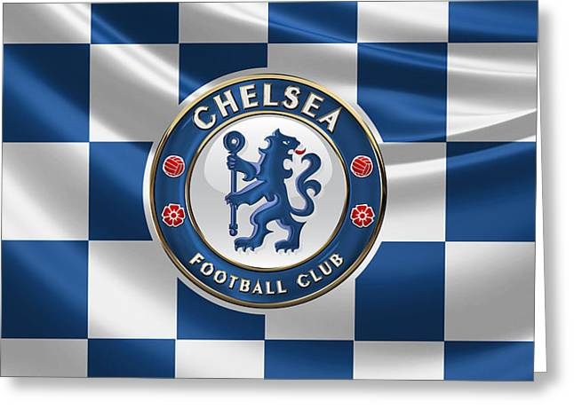 Chelsea F C - 3 D Badge Over Flag Greeting Card