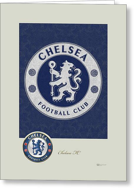 Chelsea F C - 3 D Badge Over Vintage Logo Greeting Card by Serge Averbukh
