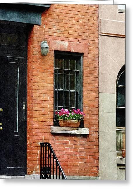 Chelsea Windowbox Greeting Card by Susan Savad