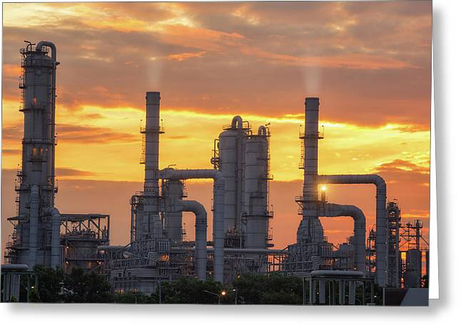 Chemical Plant And Oil Refinery Industry With Sunrise Greeting Card by Anek Suwannaphoom