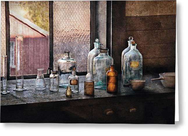 Chemist - Bottles Greeting Card by Mike Savad
