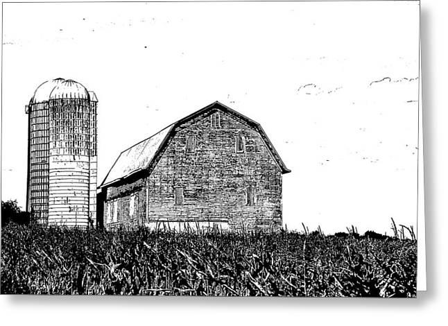 Chemung County Barn Sketch 01 Greeting Card by Jim Dollar