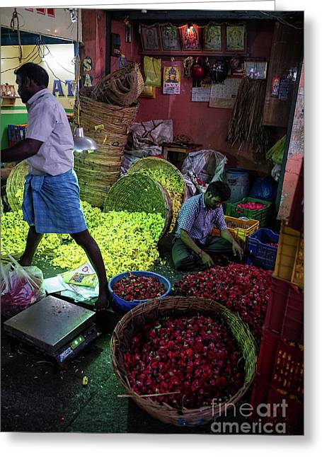 Greeting Card featuring the photograph Chennai Flower Market Busy Morning by Mike Reid