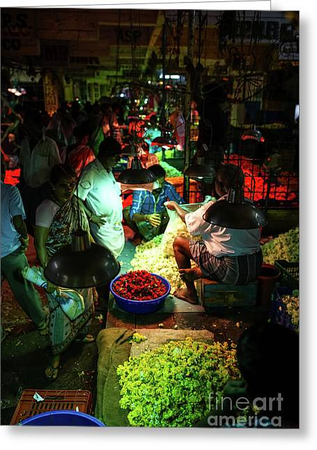 Greeting Card featuring the photograph Chennai Flower Market Stalls by Mike Reid
