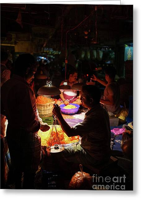 Greeting Card featuring the photograph Chennai Flower Market Transaction by Mike Reid