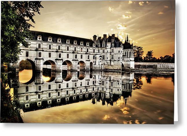Chenonceau Castle In The Twilight - Hard Contrast Version Greeting Card