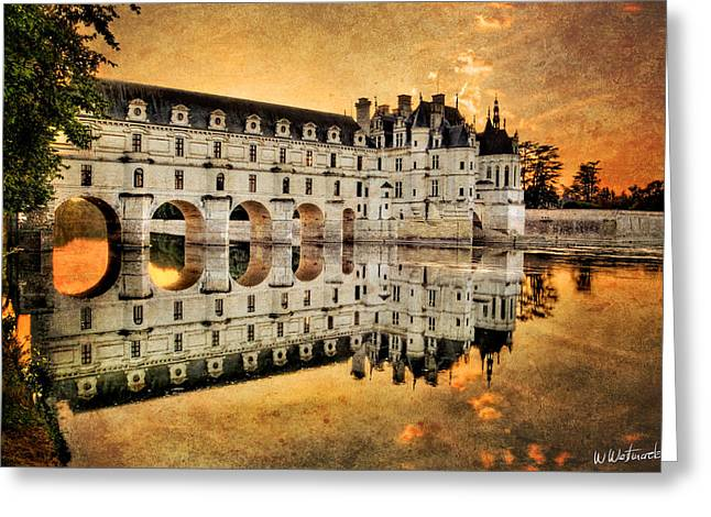 Chenonceau Castle In The Twilight - Vintage Version Greeting Card