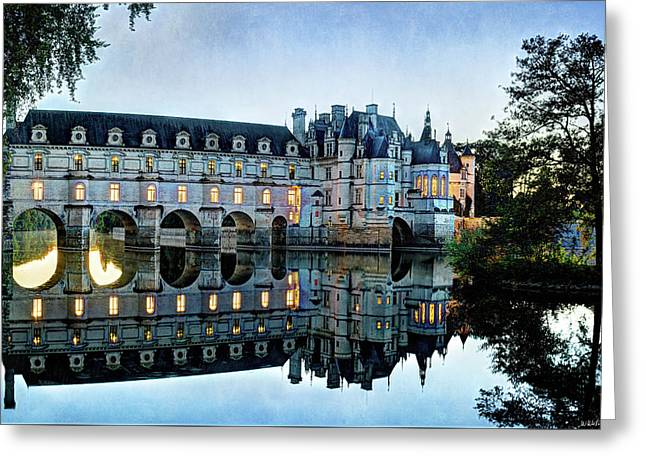 Chenonceau Twilight In Blue Closer- Vintage Version Greeting Card