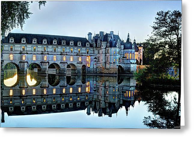 Chenonceau Twilight In Blue Closer Greeting Card