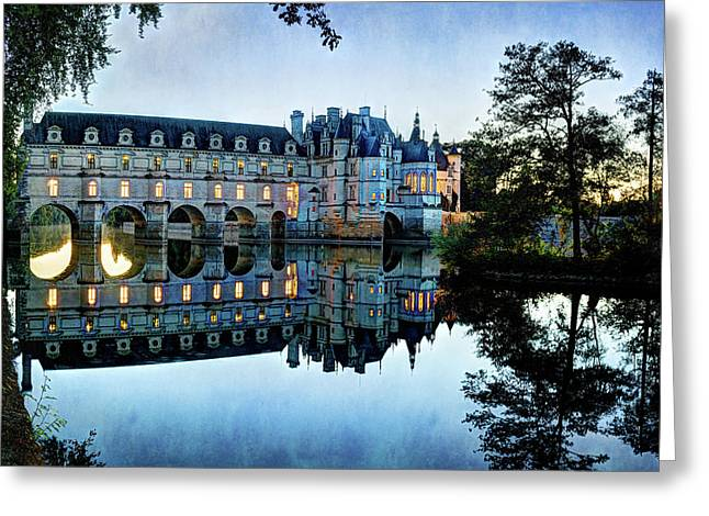 Chenonceau Twilight In Blue - Vintage Version Greeting Card