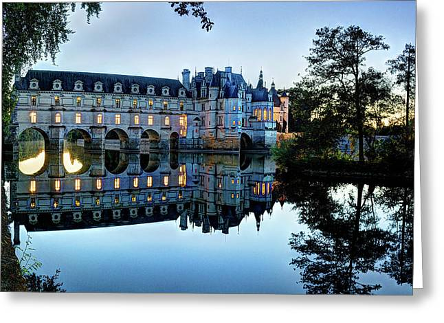 Chenonceau Twilight In Blue Greeting Card