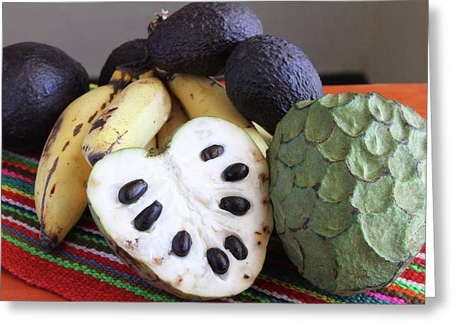 Cherimoya Fruit With Bananas And Avocados Greeting Card by Janet Millard