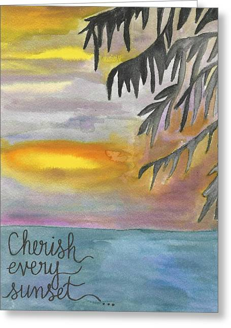 Cherish Every Sunset Greeting Card