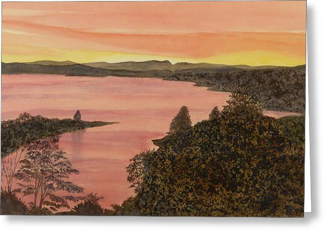 Greeting Card featuring the painting Cherokee Lake - Golden Glow by Joel Deutsch