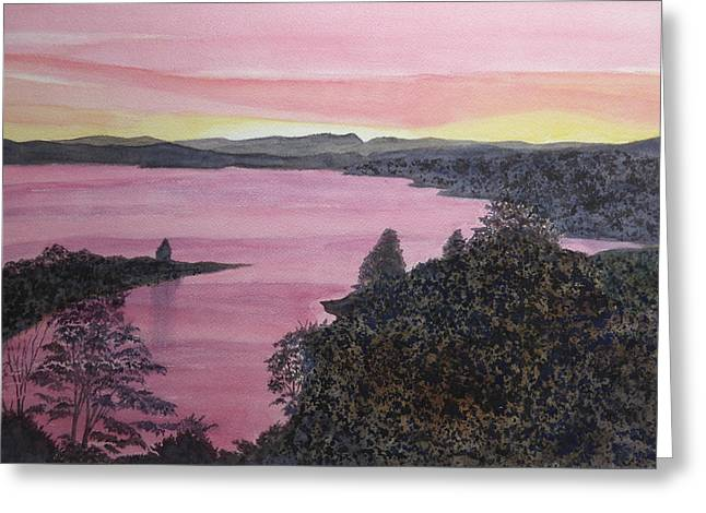 Greeting Card featuring the painting Cherokee Lake Sunset by Joel Deutsch