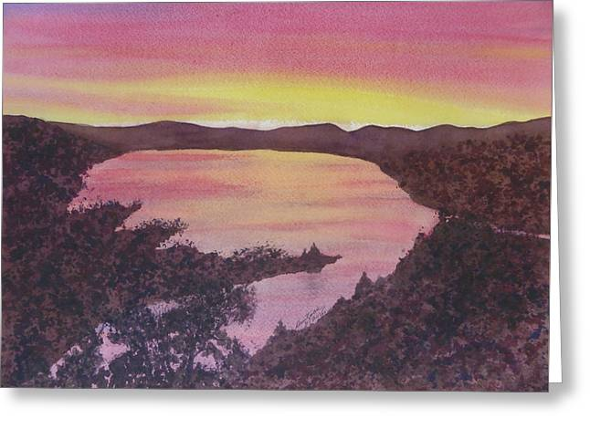 Greeting Card featuring the painting Cherokee Lake Sunset Number Seven by Joel Deutsch