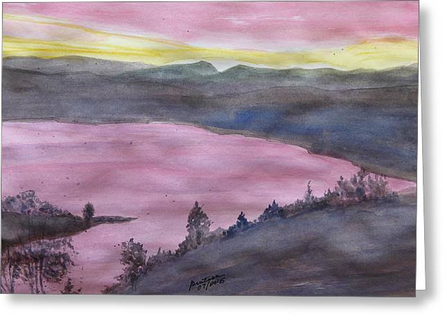 Greeting Card featuring the painting Cherokee Lake - Watercolor Sketch  by Joel Deutsch