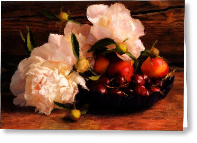 Cherries And Peonies  Greeting Card