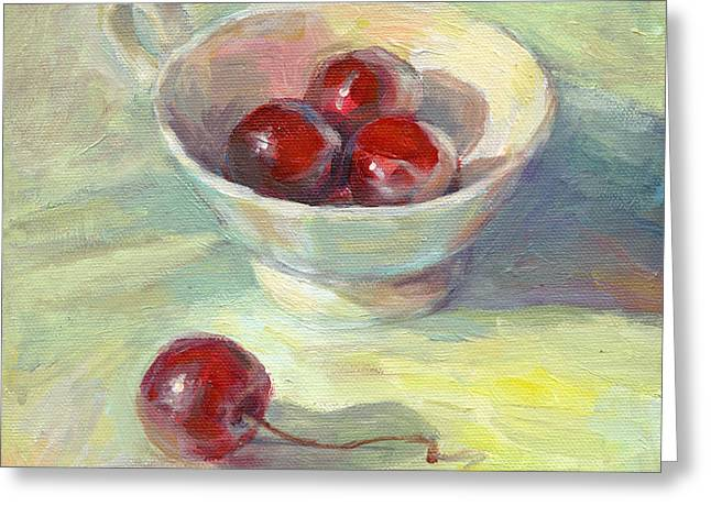 Frame Drawings Greeting Cards - Cherries in a cup on a sunny day painting Greeting Card by Svetlana Novikova