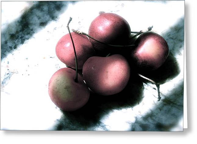 Cherries In The Light Greeting Card by Sherry Klander