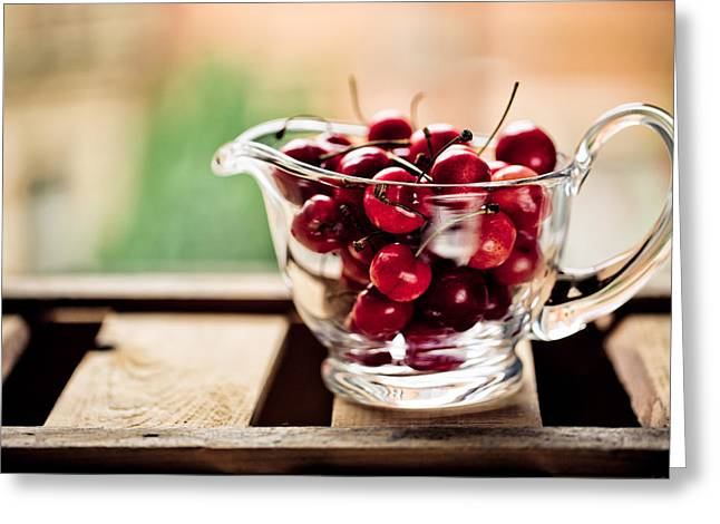 Cherries Greeting Card by Nailia Schwarz