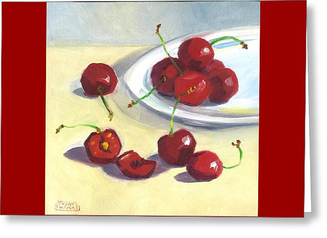 Cherries On A Plate Greeting Card