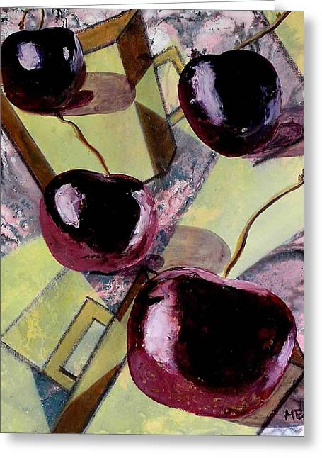 Cherries On Flat Homeware Greeting Card by Evguenia Men