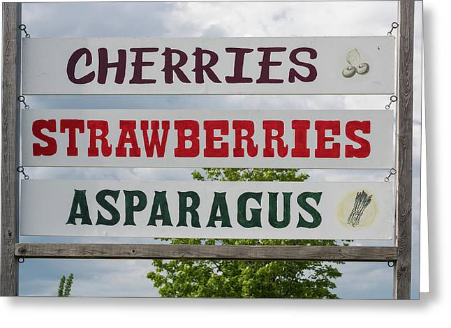 Cherries Strawberries Asparagus Roadside Sign Greeting Card