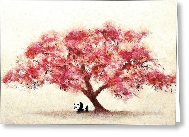 Cherry Blossom And Panda Greeting Card