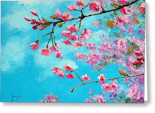 Cherry Blossom Blue Greeting Card by Jean Marc Janiaczyk