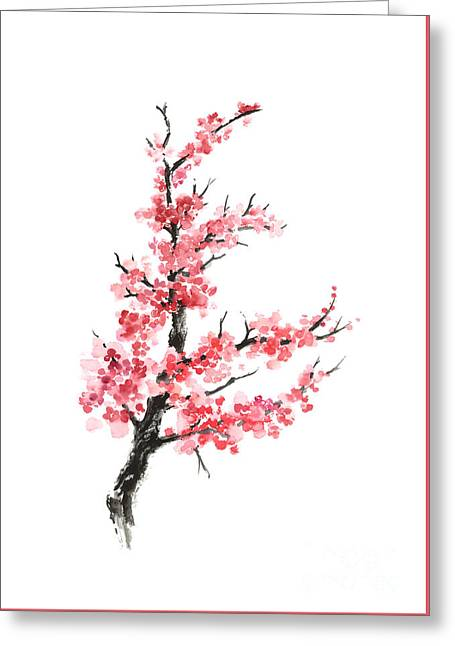 Cherry Blossom Branch Watercolor Poster Greeting Card by Joanna Szmerdt