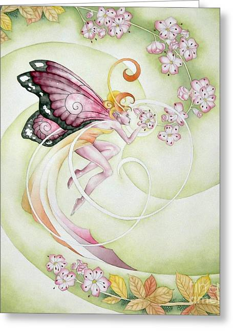 Cherry Blossom Faery Greeting Card by Ora  Moon