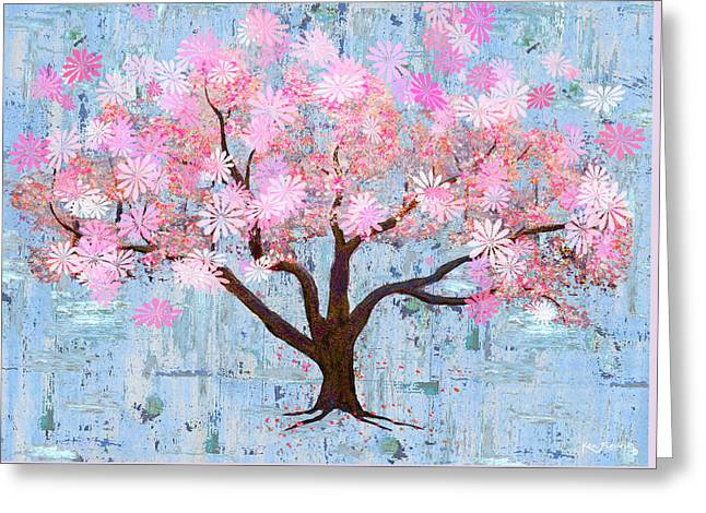 Cherry Blossom Flowering Art Greeting Card