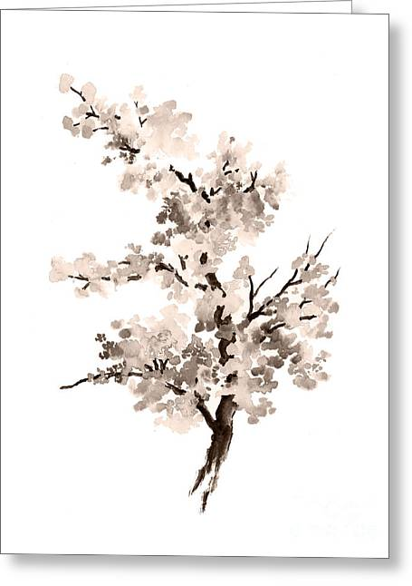 Cherry Blossom Tree Drawing Watercolor Painting Greeting Card by Joanna Szmerdt