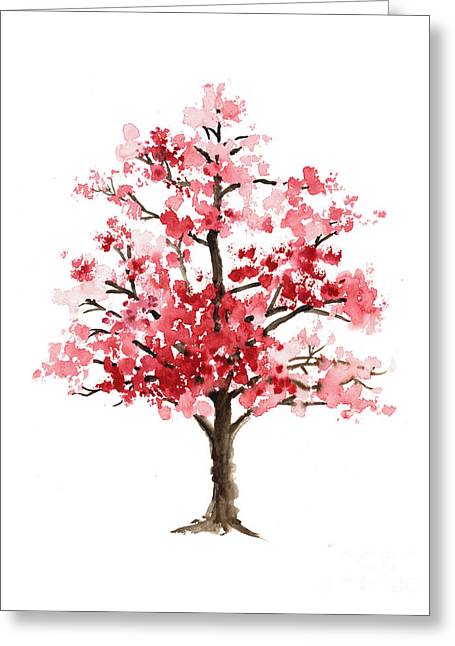 Cherry Blossom Tree Minimalist Watercolor Painting Greeting Card by Joanna Szmerdt