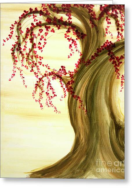 Cherry Blossoms Paintings Greeting Cards - Cherry Blossom Tree Panel 1 Greeting Card by Phung Martin