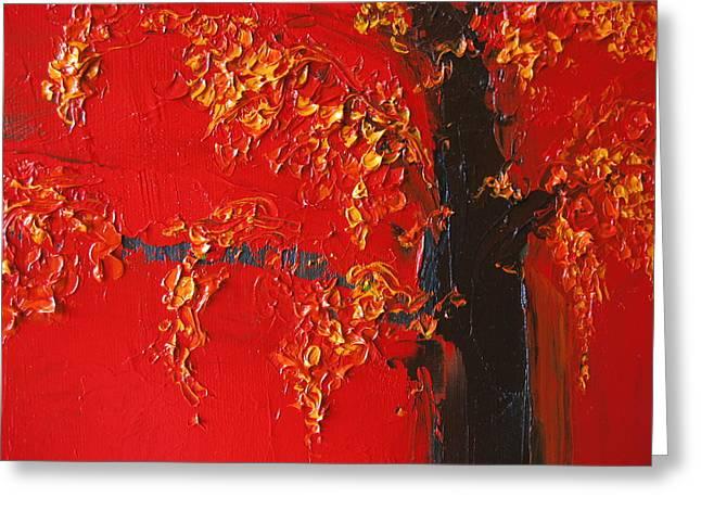 Cherry Blossom Tree - Red Yellow Greeting Card by Patricia Awapara