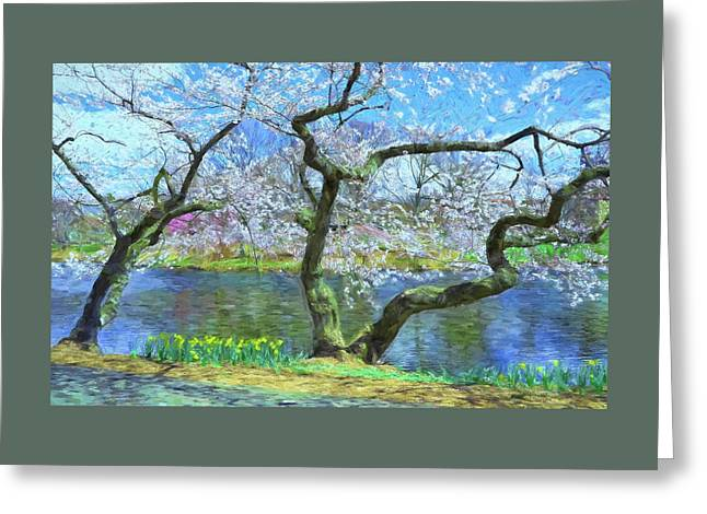 Cherry Blossom Trees Of Branch Brook Park 10 - Photopainting Greeting Card by Allen Beatty