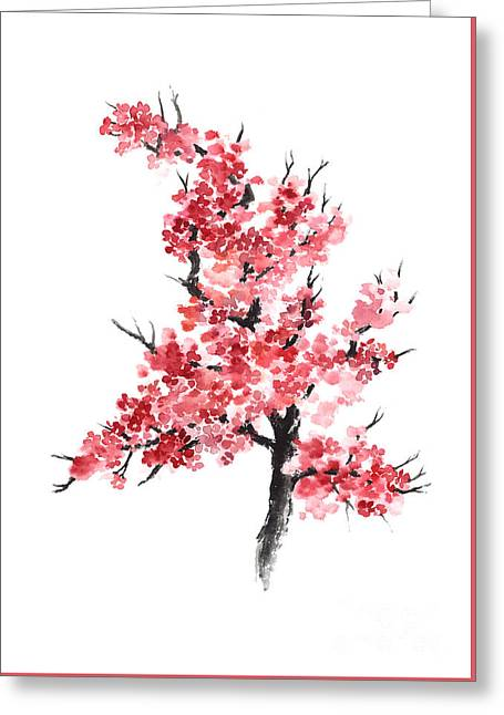 Cherry Blossom Watercolor Poster Greeting Card by Joanna Szmerdt