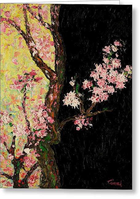 Cherry Blossoms 3 Greeting Card by Timothy Clayton
