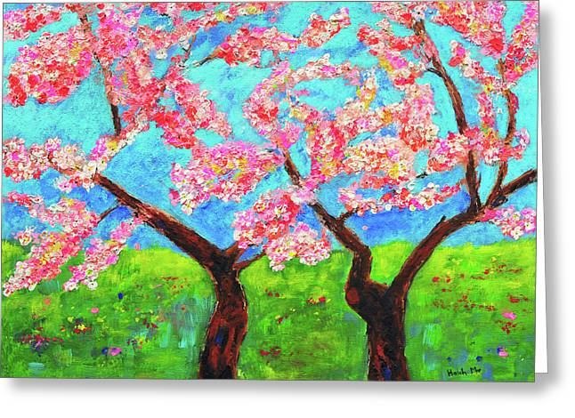 Cherry Blossoms Greeting Card by Haleh Mahbod