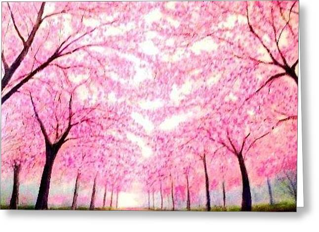 Cherry Blossoms Lane Greeting Card