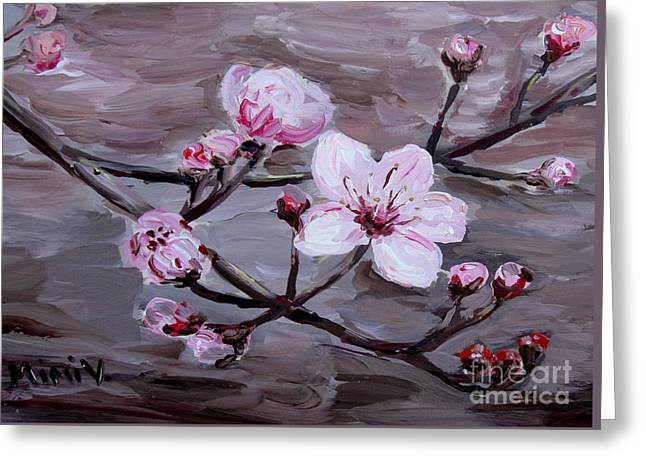 Greeting Card featuring the painting Cherry Blossoms by Maria Langgle