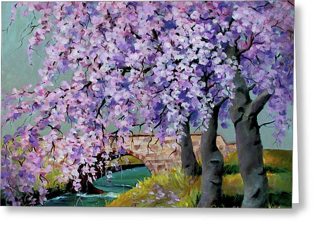Cherry Blossoms Greeting Card by Marta Styk
