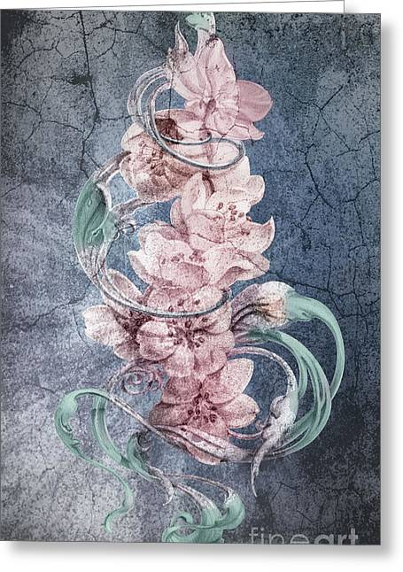 Cherry Blossoms On Vintage Greeting Card by Irina Effa